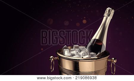 Champagne in ice bucket. 3d rendering and illustration.