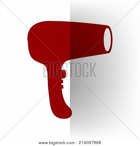 Hair Dryer sign. Vector. Bordo icon on white bending paper background.