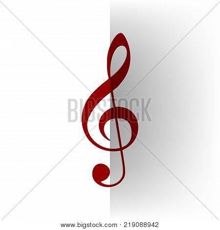 Music violin clef sign. G-clef. Treble clef. Vector. Bordo icon on white bending paper background.