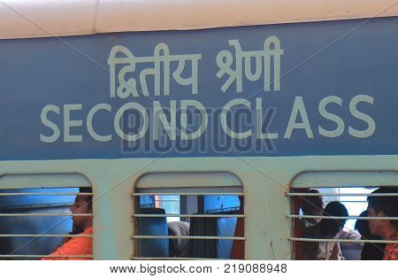 New Delhi India - October 25, 2017: Unidentified People Travel By Indian Railways Second Class Train