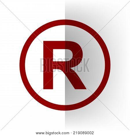 Registered Trademark sign. Vector. Bordo icon on white bending paper background.