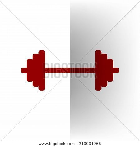Dumbbell weights sign. Vector. Bordo icon on white bending paper background.