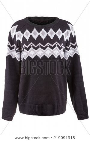 Knitted winter sweater isolated on a white background