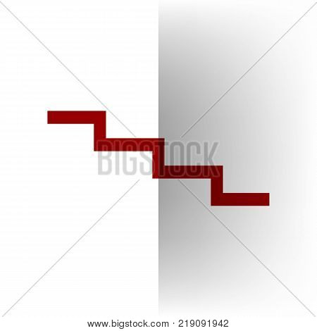 Stair down sign. Vector. Bordo icon on white bending paper background.