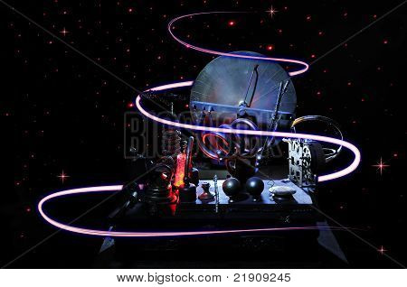 poster of Time Machine in the dark space with red light trails