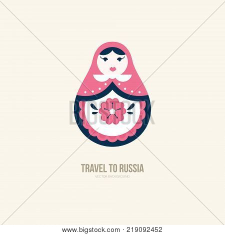 Vector illustration of nested doll - traditional symbol of Russia