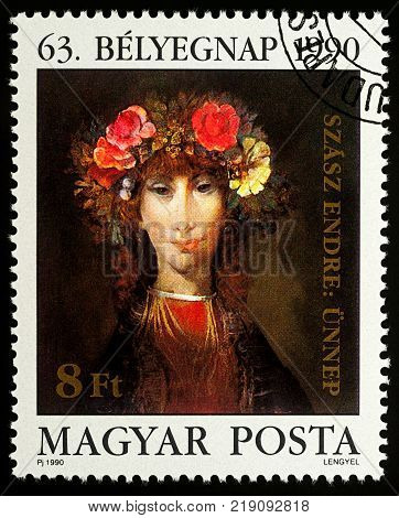 Moscow Russia - December 18 2017: A stamp printed in Hungary shows woman portrait - painting