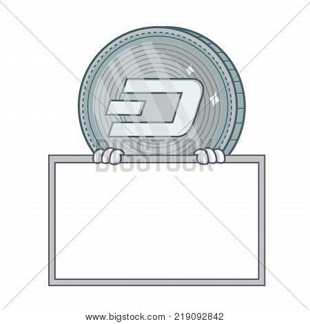 With board Dash coin character cartoon vector illustration
