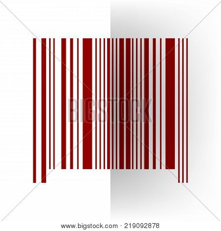 Bar code sign. Vector. Bordo icon on white bending paper background.