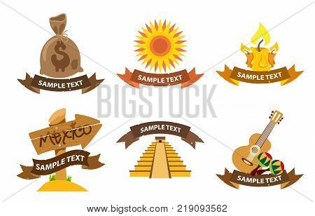 Set of mexican logos isolated on white background.