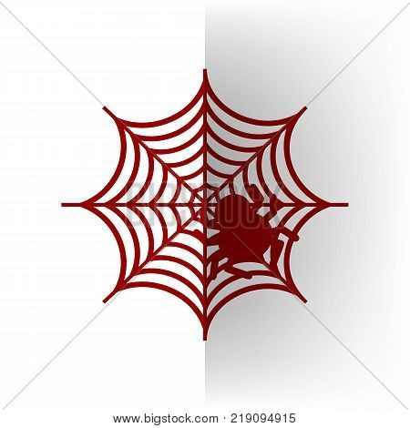 Spider on web illustration. Vector. Bordo icon on white bending paper background.