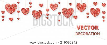 Red hearts frame, border. Vector glitter isolated on white. Great for decoration of Valentine and Mothers day cards, wedding invitations, party posters and flyers, website and social media headers.