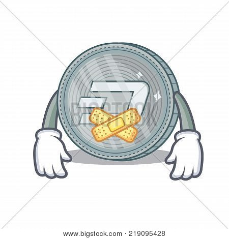 Silent Dash coin character cartoon vector illustration