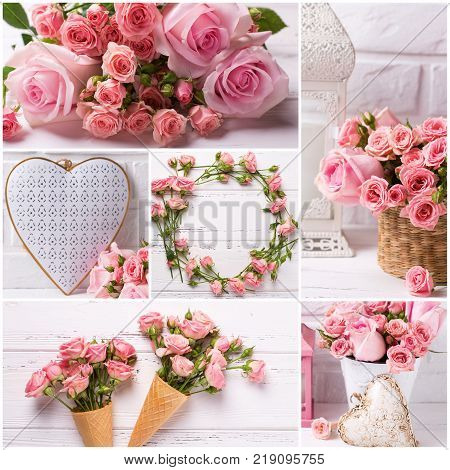 Collage with photos of tender pink roses flowers and decorative hearts on light background. Romantic background. Shabby chic.