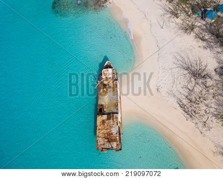 Aerial view of shipwreck on the beach in Grand Turk island.
