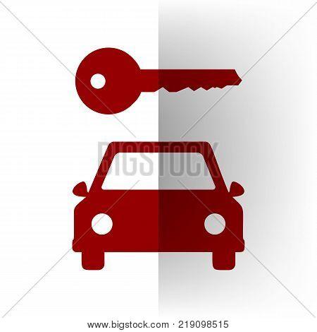 Car key simplistic sign. Vector. Bordo icon on white bending paper background.