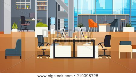 Coworking Office Interior Modern Coworking Center Creative Workplace Environment Flat Vector Illustration