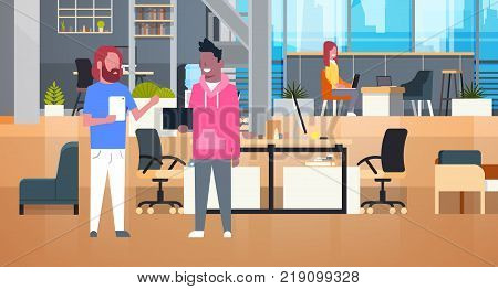 Coworkers Businesspeople Working Together In Coworking Office Casual People Group In Modern Space Flat Vector Illustration