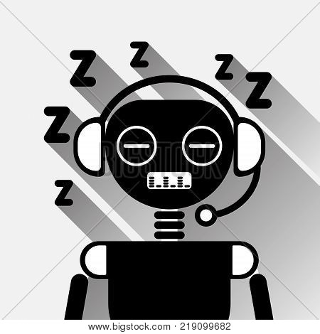 Chatbot Tired Sleep Icon Concept Black Chat Bot Or Chatterbot Service Of Online Support Technology Vector Illustration