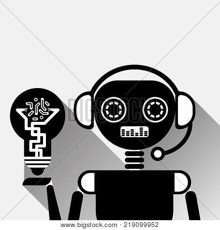 Chatbot Hold Light Bulb Icon Concept Black Chat Bot Or Chatterbot Service Of Online Support Technology Vector Illustration