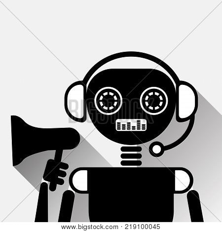 Chatbot Holding Megaphone Icon Concept Black Chat Bot Or Chatterbot Marketing Service Of Online Support Technology Vector Illustration