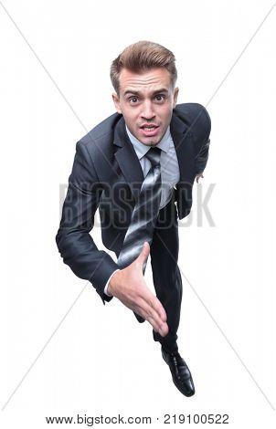 closeup face of a running businessman