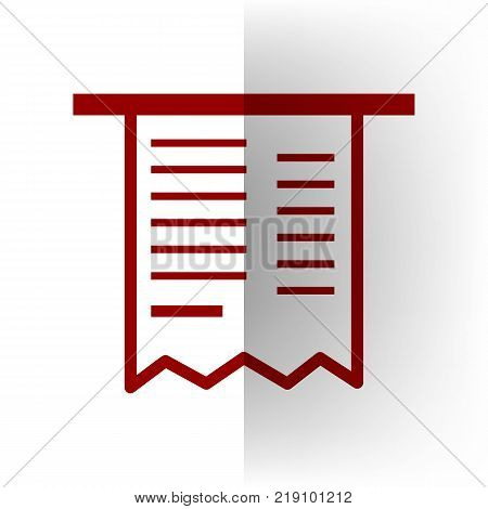 Paying bills concept. Payment of utility, bank, restaurant and other bills sign illustration. Vector. Bordo icon on white bending paper background.