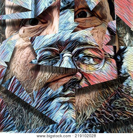 Abstract painting. Man's face in glasses. 3D rendering