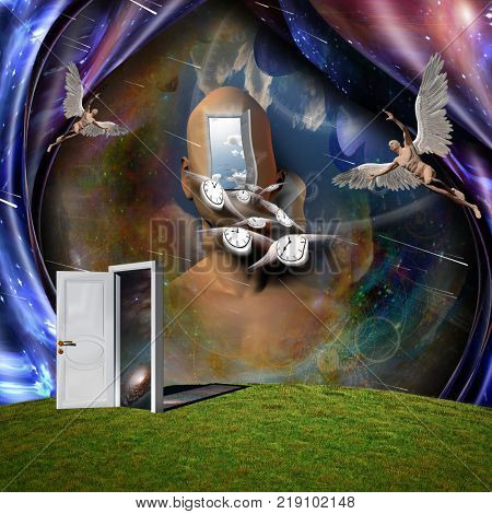 Surrealism. Man's head with opened door to another world. Naked man with wings represents angel. Winged clocks symbolizes flow of time. 3D rendering. Some elements provided courtesy of NASA