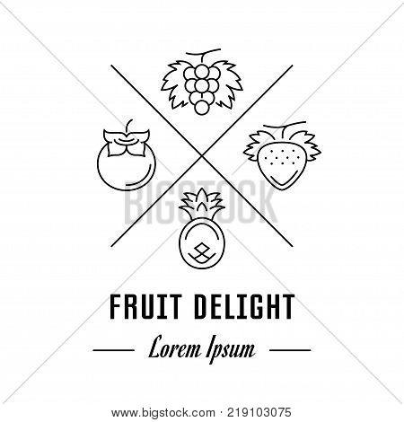 Vector logo fruit delight. Hipster emblem label or banner for fruit delight. Line sign with elements. Concept brand.