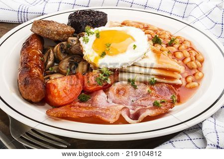 ulster fry traditional northern irish breakfast on a white plate