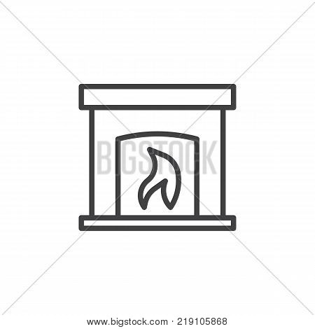 Burning fireplace line icon, outline vector sign, linear style pictogram isolated on white. Hearth symbol, logo illustration. Editable stroke