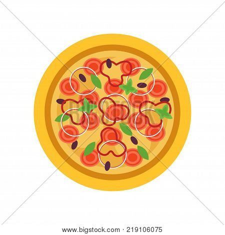Delicious pizza with tomatoes, fresh basil leaves, olives, rings of onion and red pepper. Traditional Italian food. Icon in flat style. Cartoon vector illustration isolated on white background.