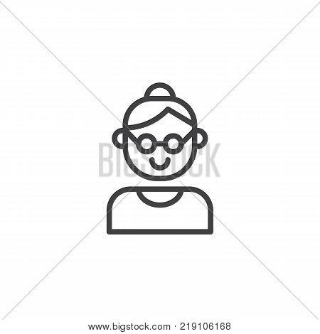 Grandmother line icon, outline vector sign, linear style pictogram isolated on white. Grandma symbol, logo illustration. Editable stroke