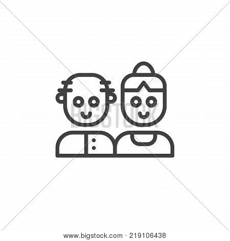 Grandparents couple line icon, outline vector sign, linear style pictogram isolated on white. Symbol, logo illustration. Editable stroke