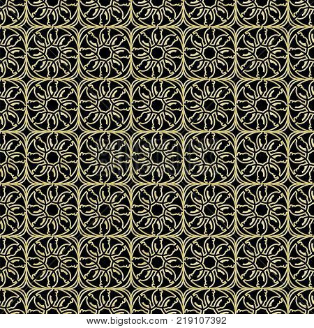 Golden Seamless Pattern Black Background