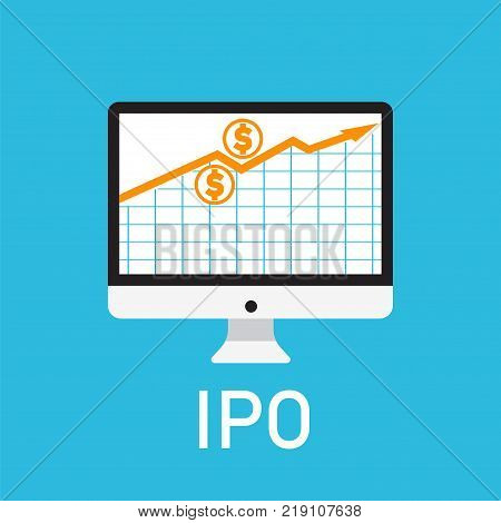 Initial public offering concept. Stock vector illustration of IPO launch with arrown going up on computer screen. Flat style