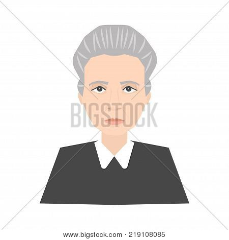 Famous scientist Marie Curie portrait isolated on white background. Stock vector illustration of a celebrity person nobel prize winner physicist. poster