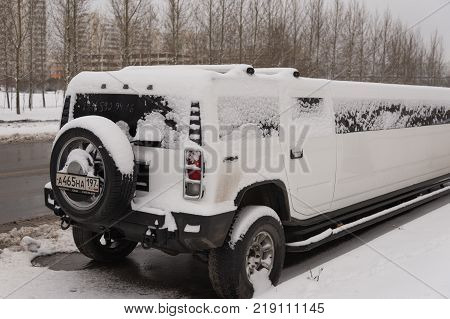 Moscow, Russia - December 19, 2017. Snow limo in the Parking lot