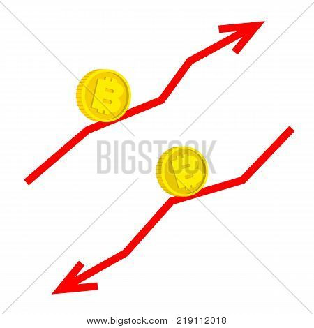 Falling and growing bitcoin concept - two vector images isolated on white background. Gold coin with currency sign moving along red line with arrow. Cartoon financial graph.