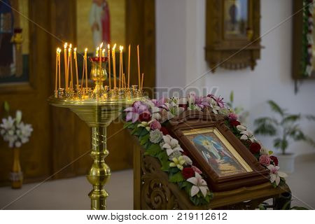 Belarus the city of Gomel on October 25 2017. Church of the farm.The interior of the church. Altar and church candles