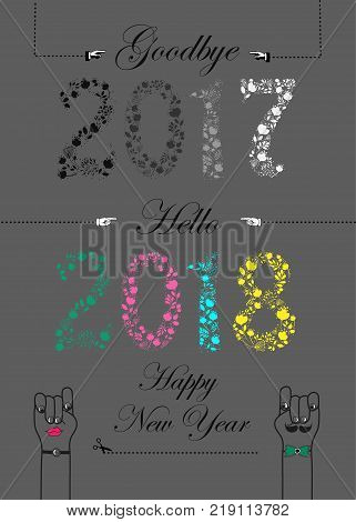 Goodbye 2017. Hello 2018. Happy New Year. Numbers by artistic font. Gray and colorful floral numerals. Cartoon male and female hands looking at each other. Vector Illustration