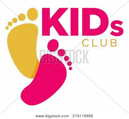 Kids zone logo template of child palm hands and speech bubble with color letters. Vector icon for kindergarten or children playground and education school classroom or family entertainment place