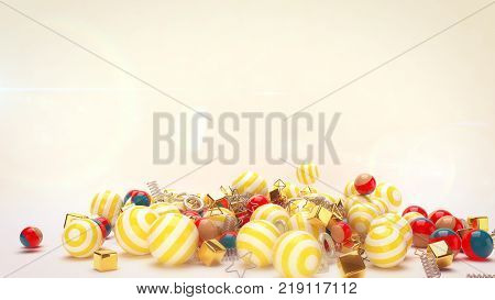 An optimistic 3d illustration of flying festive multicolored striped balls with golden cubes and spirals in the white background. The balls remind us about Merry Christmas and Happy New Year!