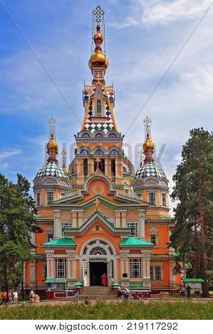 ALMATY, KAZAKHSTAN - AUGUST 4, 2013: The Ascension Cathedral