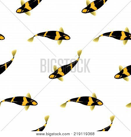 Vector iflat llustration with koi fish. Cute koi in water. Vector illustration of traditional sacred Japanese Koi carp fish. Seamless pattern.