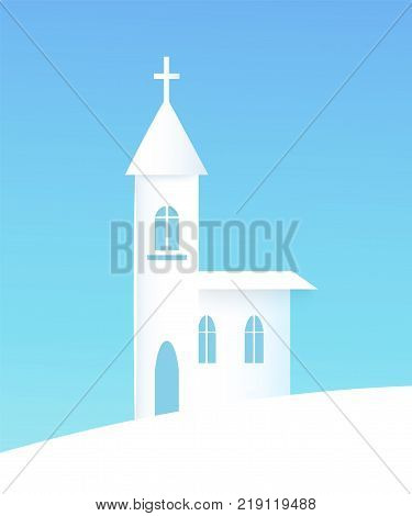 Winter poster with church and cross on it towers top, silhouette of building with windows, snowy weather and snow, banner vector illustration