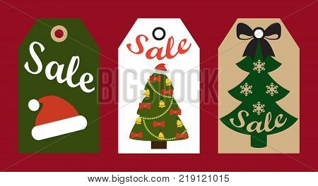 Sale promo tags ready to use labels decorated Christmas trees and red Santa hat promotional advert stickers vector illustrations promo badges