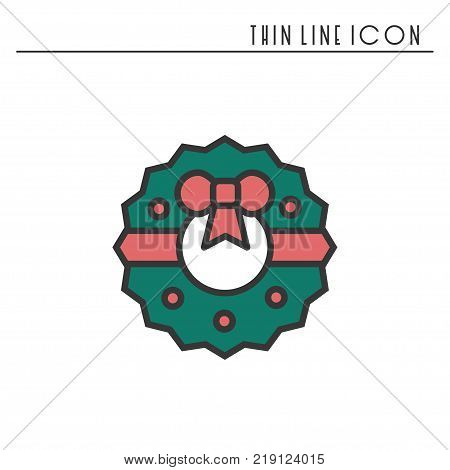 Christmas Wreath Silhouette Vector.Christmas Wreath Bow Vector Photo Free Trial Bigstock