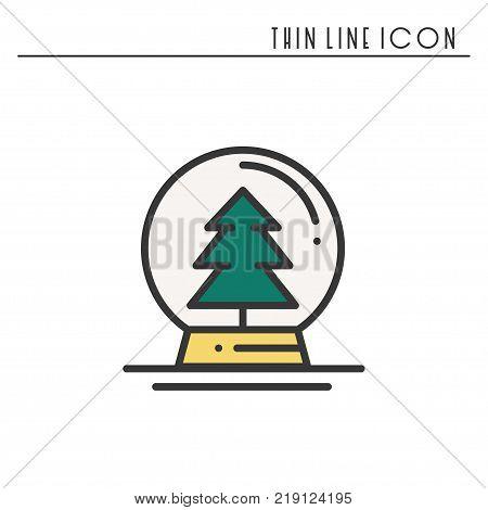 Christmas snow ball thin line icon. Christmas tree spruce fir. New Year celebration decorated pictogram. Xmas winter element. Vector simple flat design. Logo illustration. Symbols. Snow globe ball